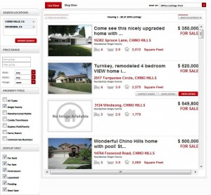 Help-U-Sell Real Estate Broker Site's List View