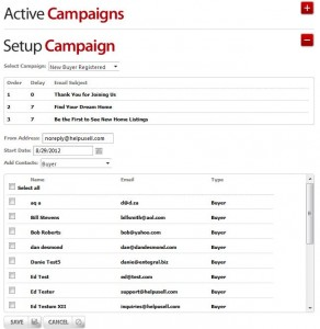 Help-U-Sell Drip Email Campaign Setup Screen