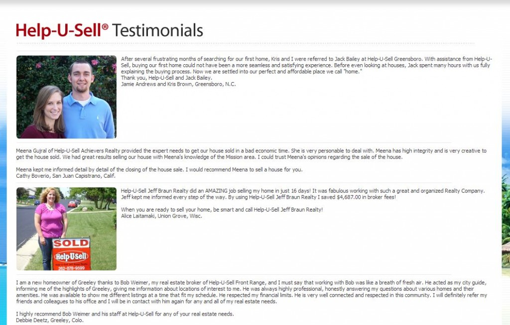 Help-U-Sell Real Estate Testimonials